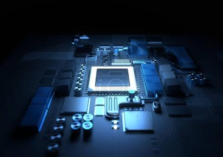 Photo for Technology background. A glowing CPU on a motherboard. 3D illustration render. - Royalty Free Image