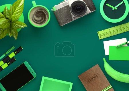 Photo pour Vue du haut vers le bas de l'espace de travail moderne bureau avec des éléments essentiels, y compris le café, usine de bureau, appareil mobile, appareil photo, collations alimentaires et outils d'affaires - en vert. Illustration 3D rendu . - image libre de droit
