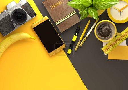 Photo pour Jaune vue du haut vers le bas d'un bureau d'affaires avec un smartphone, des accessoires de bureau, un journal, du café et des collations. Illustration 3D rendu . - image libre de droit