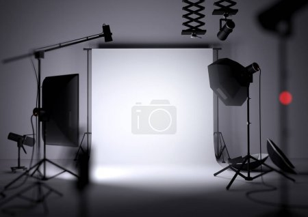 Photo pour Un arrière-plan studio photo vide avec matériel d'éclairage photo, illustration 3D - image libre de droit