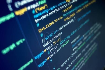 Photo for Modern programming source code on a computer screen. Background - Royalty Free Image