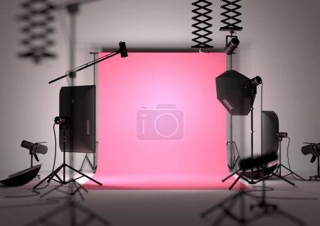 Photo pour Studio de photographie de mode fond vide avec équipement de studio. Illustration 3D . - image libre de droit