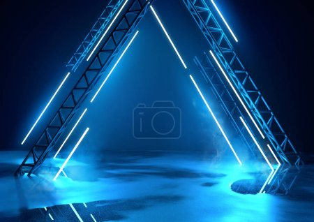 Photo for Futuristic glowing neon stage in blue. Concert background with product placement platform. 3d illustration - Royalty Free Image