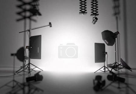 Photo pour Une installation vide et vide de studio de photographie. Illustration 3D - image libre de droit