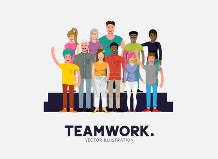 Illustration pour Une équipe de gens divers et heureux occasionnels. Illustration vectorielle - image libre de droit