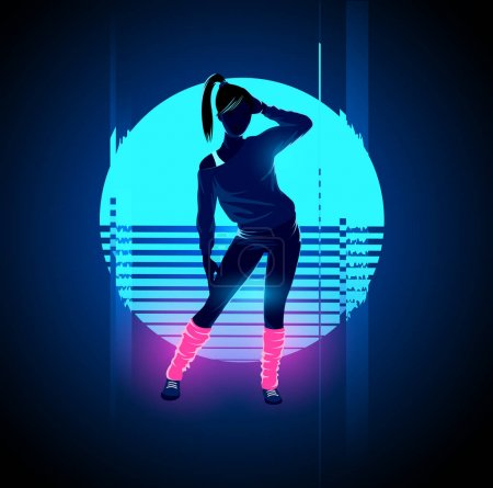 Retro 1980's glowing neon dancing lady with glitch...