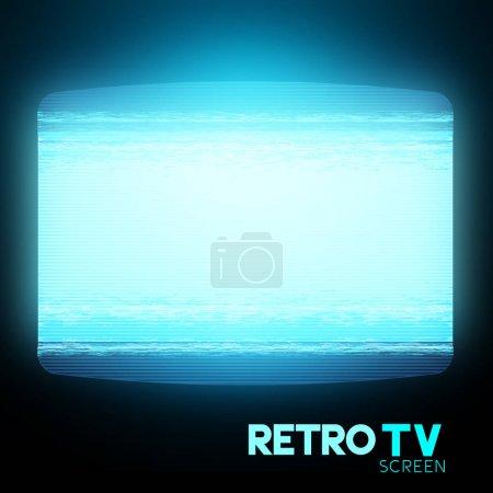 Ilustración de Una pantalla de televisión retra con estática. Ilustración de vector - Imagen libre de derechos