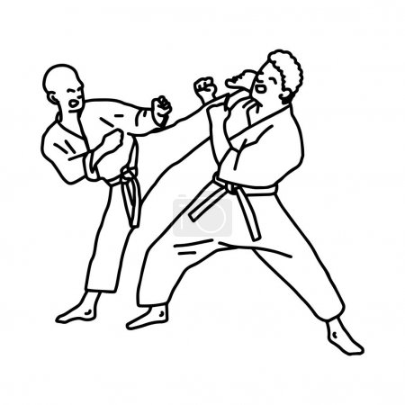 karate athletes vector illustration sketch