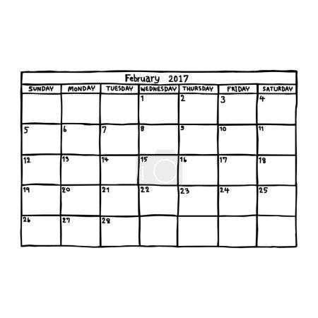 Calendar February 2017 - vector illustration sketc...