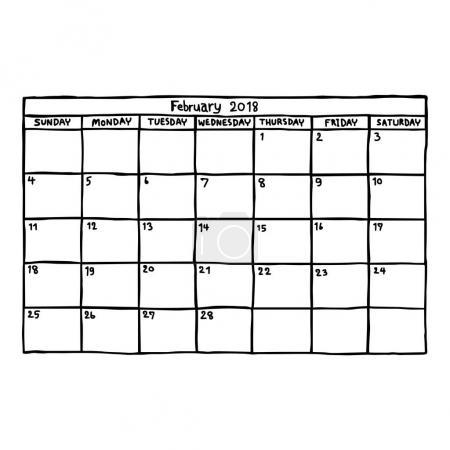 Calendar February 2018 - vector illustration sketc...