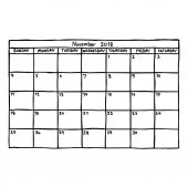 calendar November 2018 - vector illustration sketch hand drawn with black lines isolated on white background