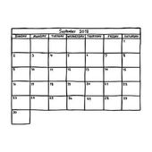 calendar September 2018 - vector illustration sketch hand drawn with black lines isolated on white background