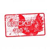 Kuře 100 procent - červená výstřední razítko v obdélníkové s špinavé pozadí vektorové ilustrace