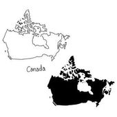 outline and silhouette map of Canada - vector illustration hand drawn with black lines isolated on white background