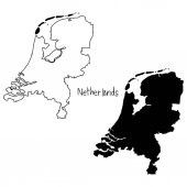 Outline and silhouette map of Netherlands - vector illustration hand drawn with black lines isolated on white background