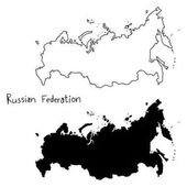 Outline and silhouette map of Russian Federation - vector illustration hand drawn with black lines isolated on white background