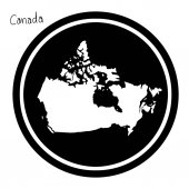 vector illustration white map of Canada on black circle isolated on white background