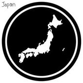 vector illustration white map of Japan on black circle isolated on white background