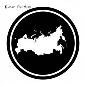 Vector illustration white map of Russian Federation on black circle isolated on white background