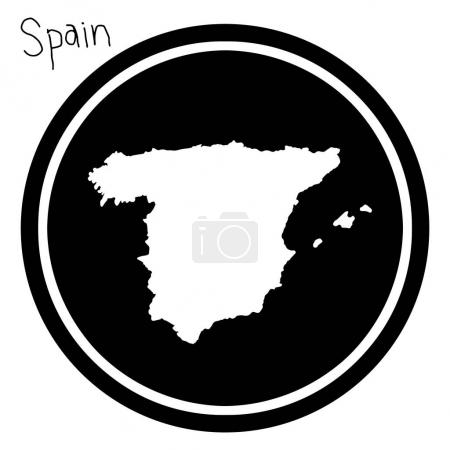 vector illustration white map of Spain on black circle, isolated on white background