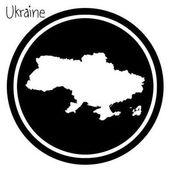 vector illustration white map of Ukraine on black circle isolated on white background