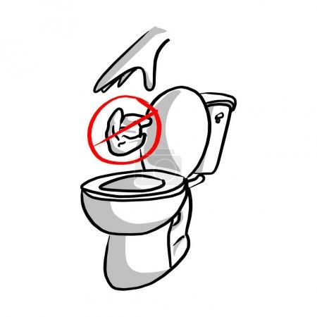 Illustration pour S'il vous plaît ne pas jeter dans la toilette vectoriel illustration croquis gribouille dessinée à la main avec des lignes noires isolées sur fond blanc - image libre de droit