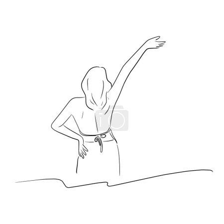 Illustration pour Femme avec bikini levant la main droite à partir de l'illustration vectorielle de vue arrière croquis main doodle dessiné avec des lignes noires isolées sur fond blanc - image libre de droit