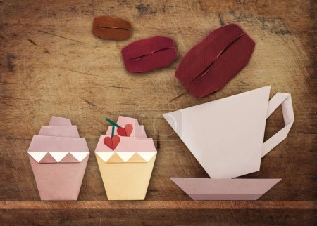 Origami of coffee and cake