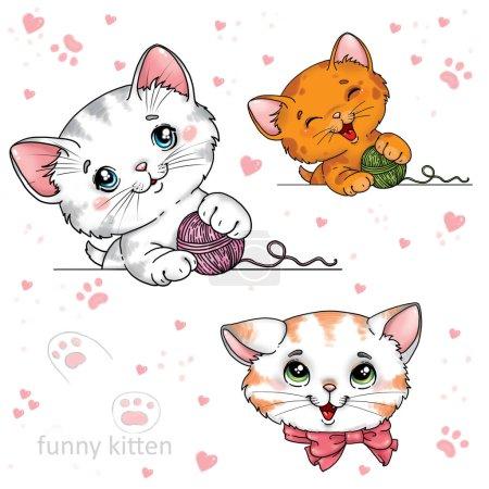 Photo pour Drôles de chatons de dessin animé sur un fond blanc - image libre de droit