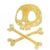 Skull with mandala pattern vector