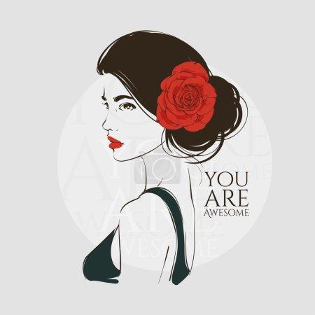 Illustration pour Portrait de jeune belle femme avec rose rouge dans les cheveux. Illustration vectorielle dessinée main . - image libre de droit