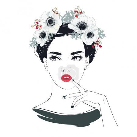 Illustration pour Portrait de jeune belle femme aux fleurs aux cheveux longs. Illustration vectorielle dessinée main . - image libre de droit