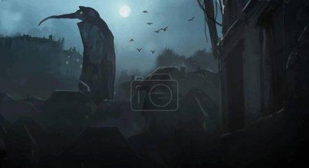 Hd Wallpaper Pest Arzt in der Nacht in der Stadt. Ein riesiges Monster in der Stadt, atmosphärisch gruseliger Hintergrund. Tod in einer mittelalterlichen Stadt, Mond in der Nacht