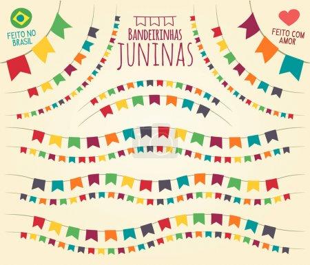 Illustration pour Vecteur plat vif pour les thèmes festifs, fabriqué au Brésil avec amour - image libre de droit