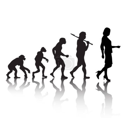 Illustration for The evolution, silhouette people. Darwin s theory. Vector illustration - Royalty Free Image