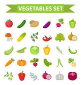 Vegetable icon set, flat, cartoon style. Fresh vegetables and herbs isolated on white background. Farm products, vegetarian food. Cabbage, beets, peppers, greens, potatoes. Vector illustration