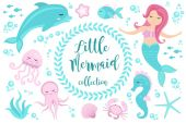 Cute set Little mermaid and underwater world Fairytale princess mermaid and dolphin octopus seahorse fish jellyfish Under water in the sea mythical marine collection