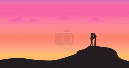 Illustration for Couple stand on mountain with sunset background, Silhouette style, Valentines Day greeting card, Holiday party, Banner, Poster, Vector illustration flat design - Royalty Free Image