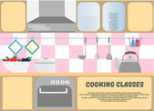 Cooking classes poster Kitchen dishes kitchen equipment and