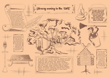 Illustration pour Le placement, affiche de divertissement pour le caf littéraire, soirées littéraires, établissements thématiques. Illustration vectorielle - image libre de droit