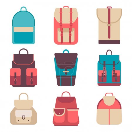 Illustration for School backpack in flat style. Bag icons kids backpack on a isolated background. Set youth backpacks. Child backpack, travel hiking, tourism and luggage. Vector illustration collections. - Royalty Free Image