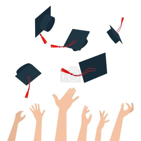 Illustration for Diversity of People Holding Certificates and Throwing Graduation Caps. Vector - Royalty Free Image