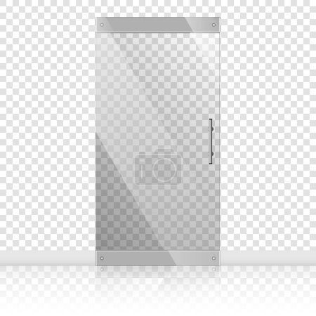 Illustration for Vector transparent glass doors with mirror image in steel frame isolated on white wall. Architectural interior symbol. Front door EPS10 - Royalty Free Image