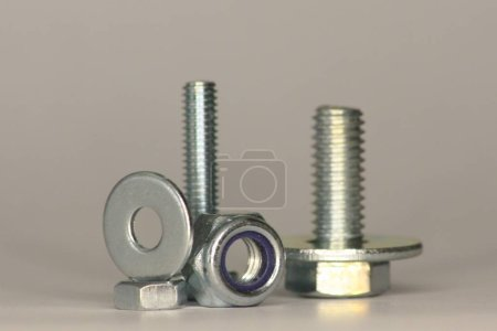 Screws, Nuts and Washer standing and lying