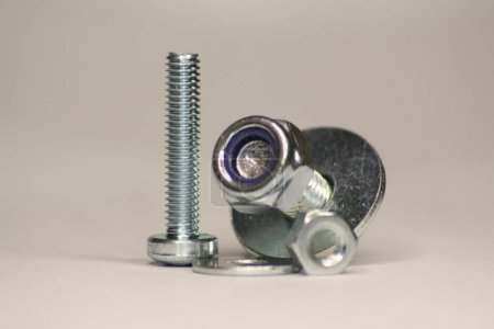 Bolts with Washer and Nut standing and lying