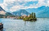 Landscape of lake Maggiore with Fishermen Island, Italy