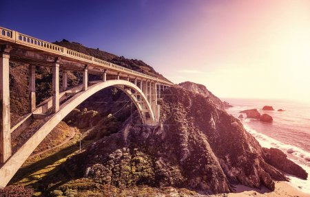 Pacific Coast Highway at sunset, USA.
