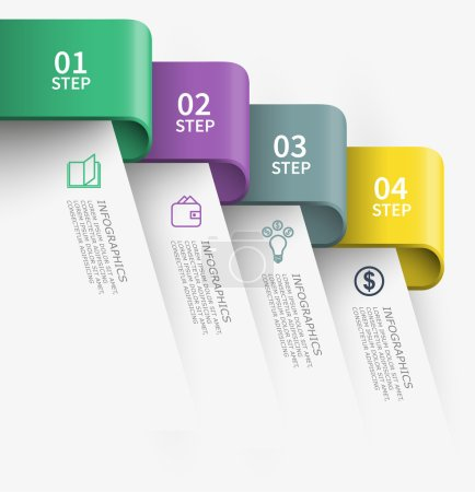 Illustration for Tapes of business steps chart infographic design - Royalty Free Image