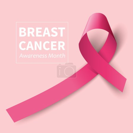 Illustration for Symbol twisted pink ribbon Breast Cancer cautioned - Royalty Free Image