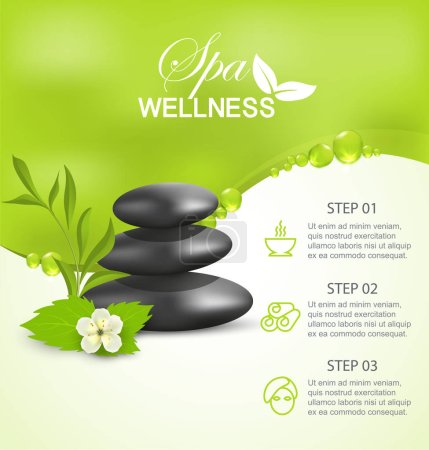 Illustration for Wellness spa treatment, vector banner green background information - Royalty Free Image